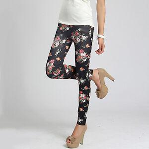 Women-039-s-Stretch-Leggings-Rose-Flower-Print-Cotton-Slim-Pants-Summer-Leggings