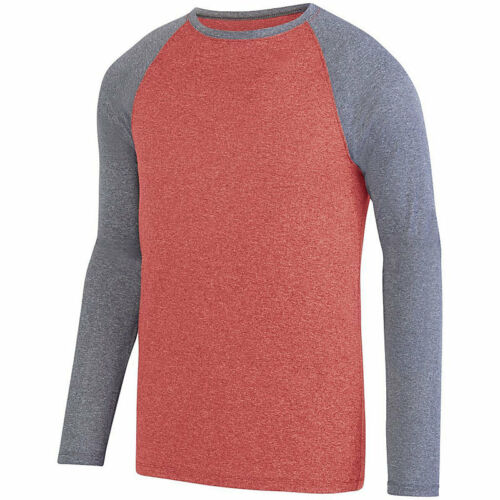 MOISTURE WICKING XS-4XL MEN/'S LONG SLEEVE TWO COLOR HEATHERED CREW T-SHIRT