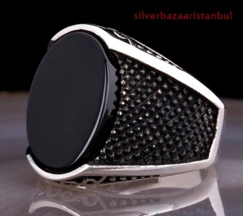 Turkish 925 Sterling Silver HANDMADE black onyx stone mens ring ALL SİZE us 6270