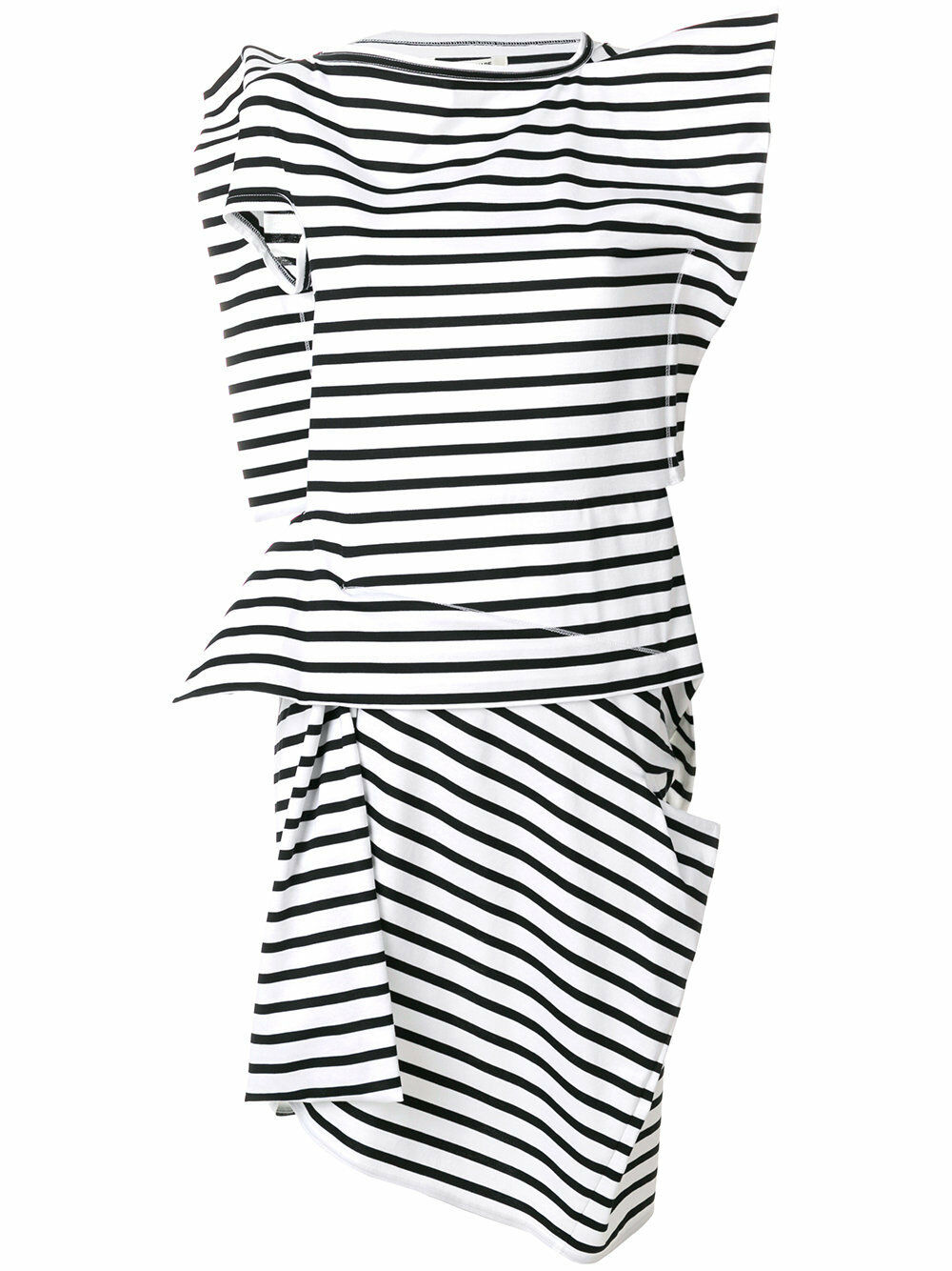 Junya Watanabe Comme Des Garçons Garçons Garçons Asymmetric Sculptural Spiky Striped Dress 2 3b1e22