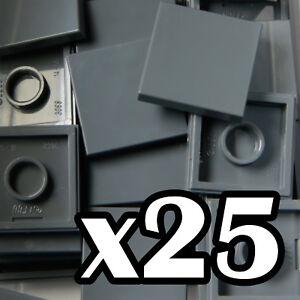 NEW-LEGO-TILES-2-x-2-Dark-Bluish-Gray-tile-x-25-flat-smooth-2x2-grey