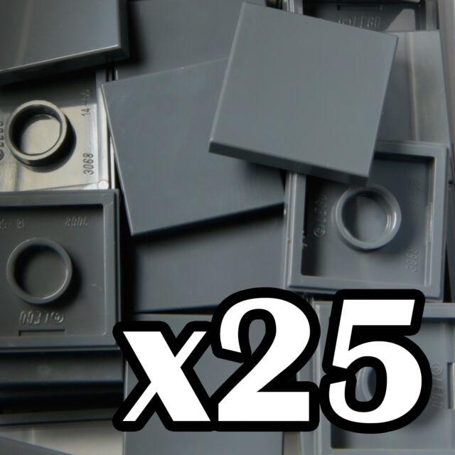 20x Lego ® 87580 Tile Plate 2x2 with 1 Stud Dark Grey Dark Bluish Gray NEW