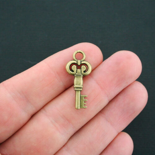 5 Key Charms Antique Bronze Tone 2 Sided BC463