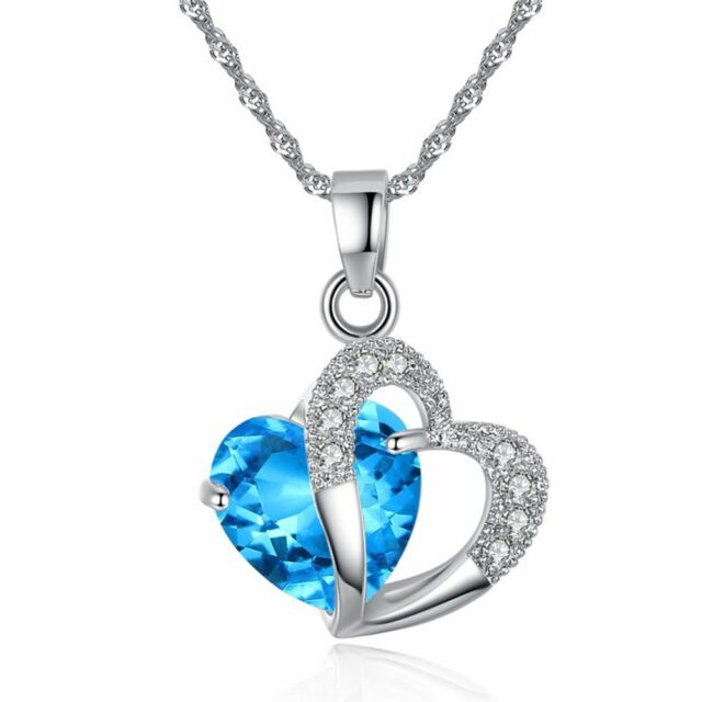 Stone Pendant Crystal Long Necklace Chain Statement Jewelry For Women Girls