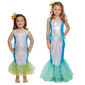 Girls Blue Mermaid Costume Fairy Tale Fancy Dress Kids Little Princess Outfit