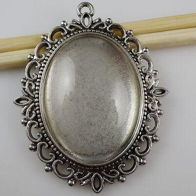 5 set Vintage Silver Oval Frame Holder Base Setting 40*30mm Cameo Glass Pendant