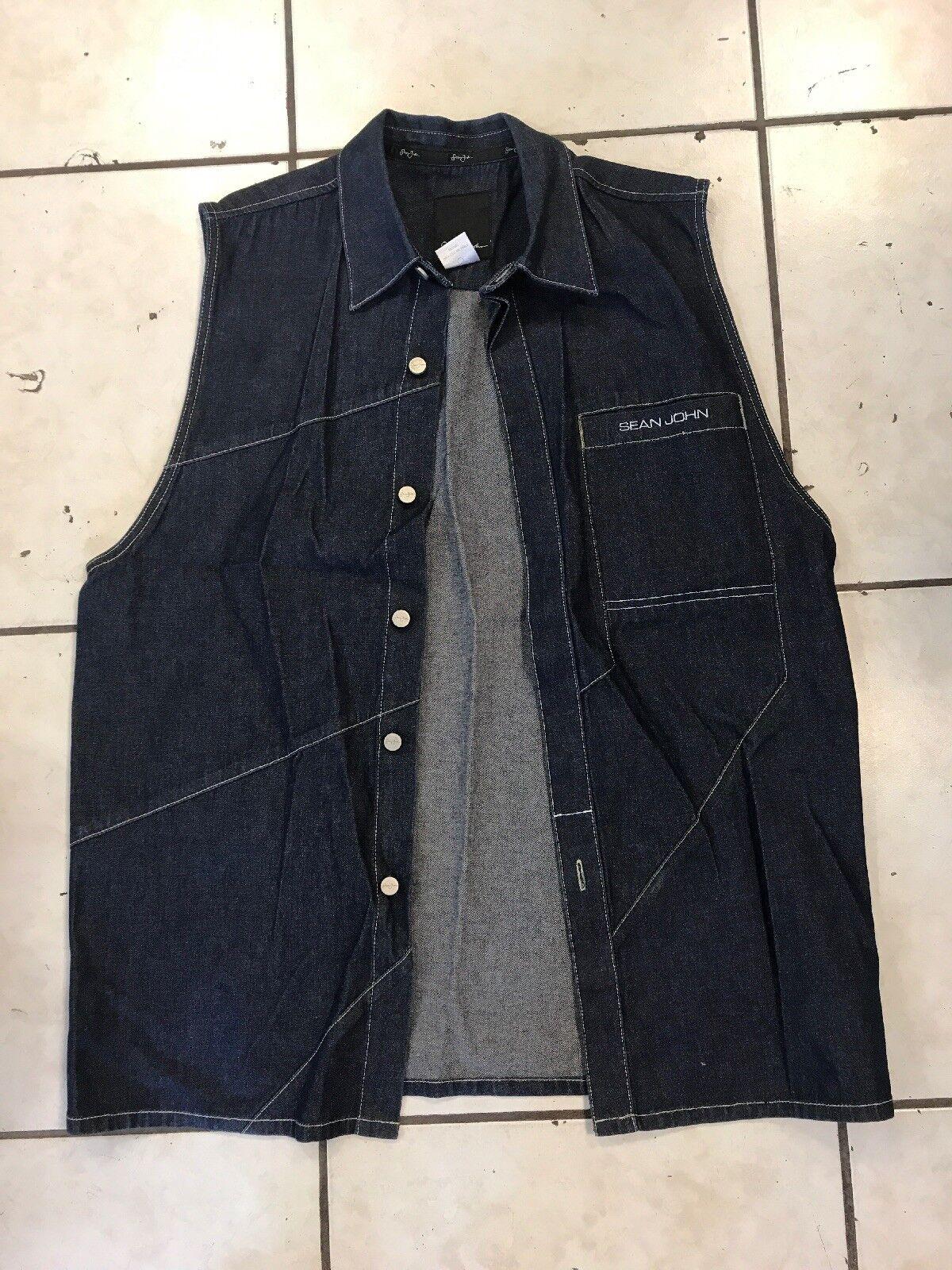 Sean John Men's bluee Denim Jean Vest Size Large