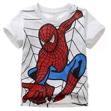 New Baby Kids Boys Clothes Short Sleeve Spiderman Costume Tee Tops Shirt T-Shirt