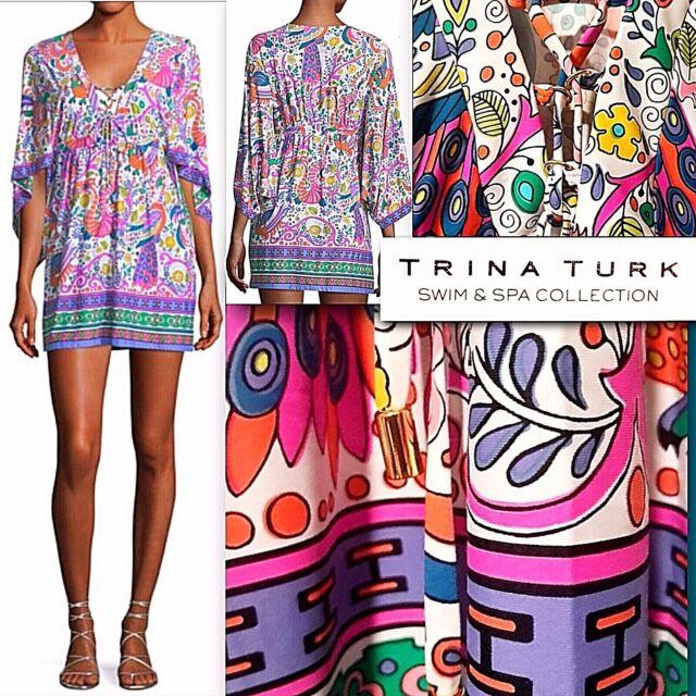 5016fdc330078 NWT $148 Trina Turk Jungle Beach Floral Stretch Swim Cover Up Tunic Dress XS