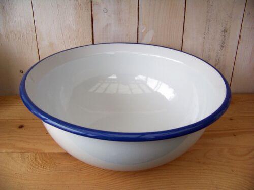 Emaille Schüssel weiß/blau NEU Salatschüssel Waschschüssel Camping Email