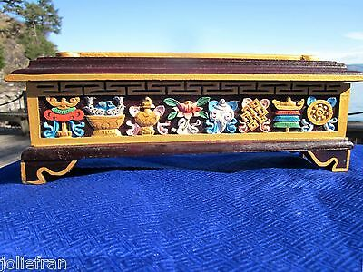 "13""+ BEAUTIFUL TIBETAN BUDDHIST HAND-CRAFTED WOOD INCENSE BURNER/HOLDER NEPAL"