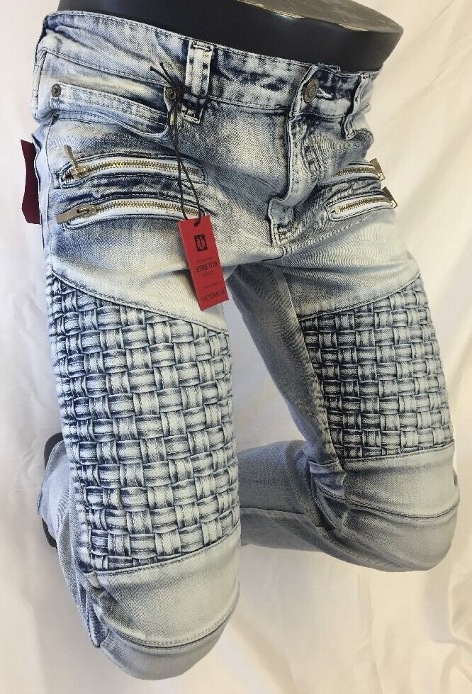 Mens Jean VICTORIOUS Straight Leg DESTROYED blueE WEAVED ZIPPERS PATCHES DL1042