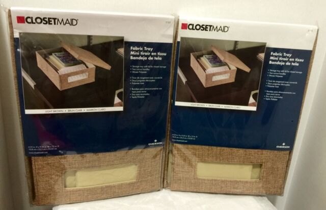 Two ClosetMaid Fabric Tray with Lid, Light Brown Color, Brand New