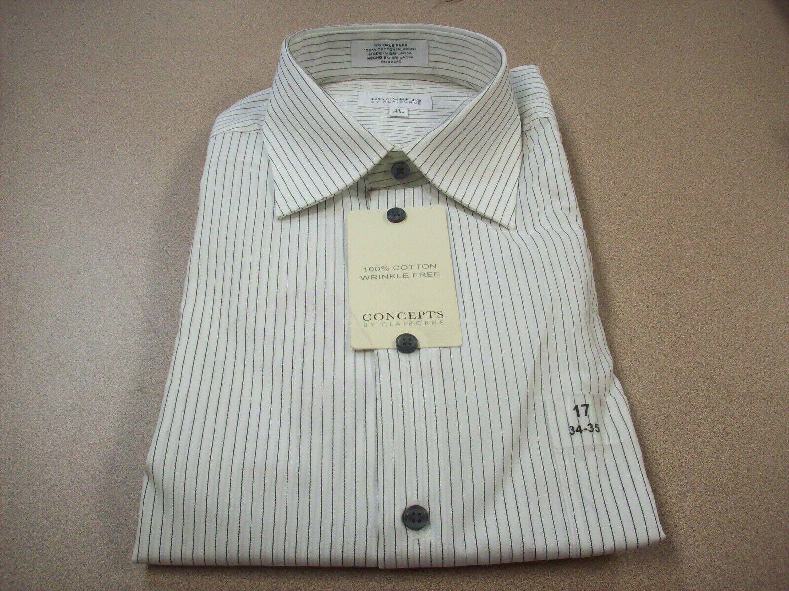 Claiborne Men's Wrinkle Free Dress Shirt White bluee Striped Size 17 34-35