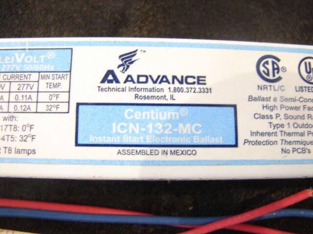 ADVANCE ICN-132-MC INSTANT-START ELECTRONIC BALLAST 120V ***XLNT***