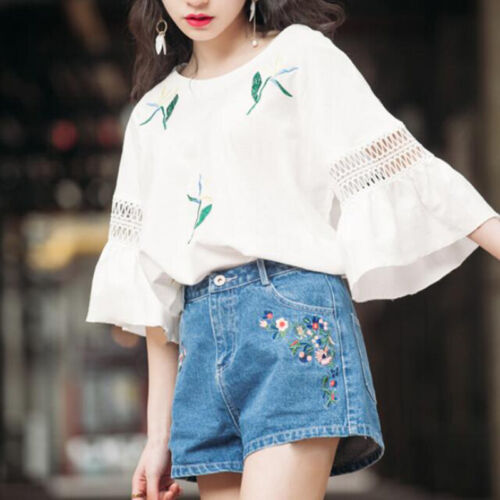 Women Lace Blouse T Shirt Top 3//4 Sleeve Round Neck Casual Loose Simple Tops MC