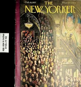 1957 The New Yorker Magazine Cover 1957 February 16 Vintage Print 6728