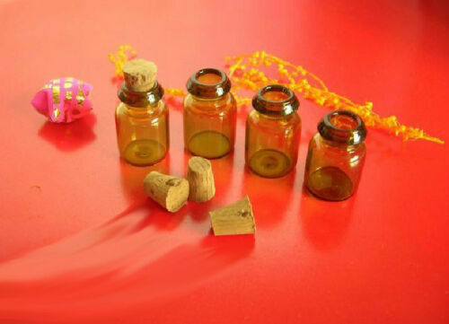 10-50pcs 0.6ml//1ml Vials Brown Glass Bottles with Corks Empty Jars Small