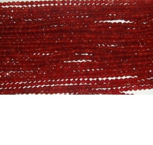 16 inch Strand Dark Red Jade 4mm Round Faceted Dyed Approx