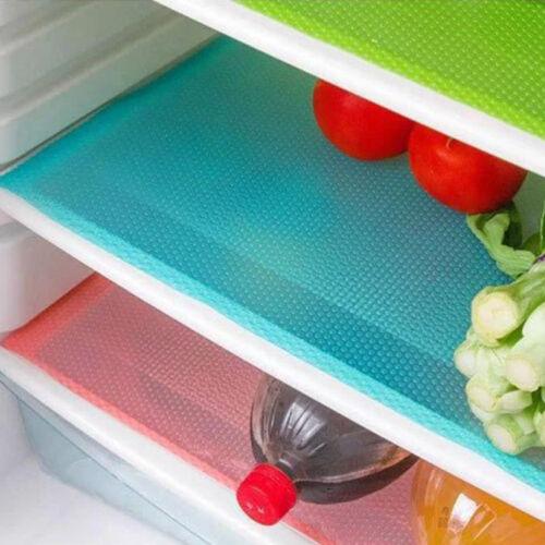 4PCS Healthy EVA Anti-bacterial Cuttable Refrigerator Mat Freezer Easy Clean
