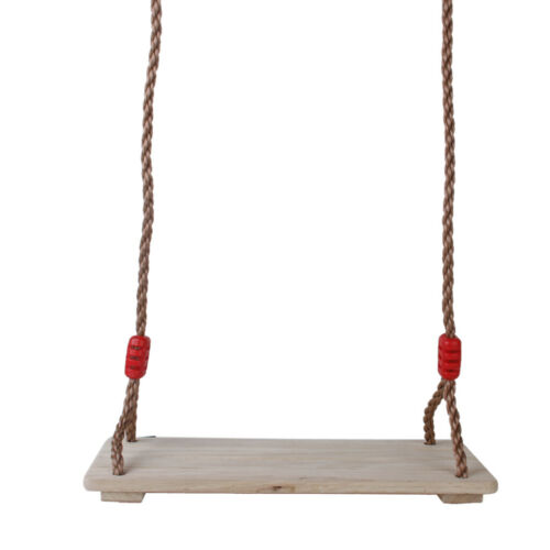 Strong Wooden Hanging Swing Seat with Adjustable Rope for Kids Garden Play