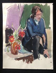 Rolf Böhlig, Portrait, Gouache, 1962, von Rosel Böhlig bestätigt