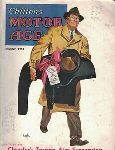 Chilton's Motor Age Magazine March 1957 Man With Auto Part Present for Wife