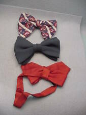 Vintage Lot Three Clip On bow ties Solid & Graphic