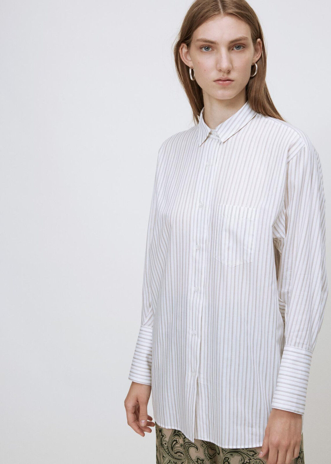 NEW Acne Studios 40 Bai C Stripe Beige Collarot Cotton Shirt Blouse Button