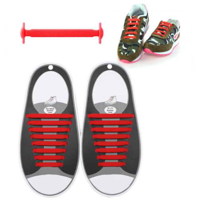 2Pair Lazy Elastic Silicone Shoelaces No Tie Running Sneakers Strings Shoe Laces