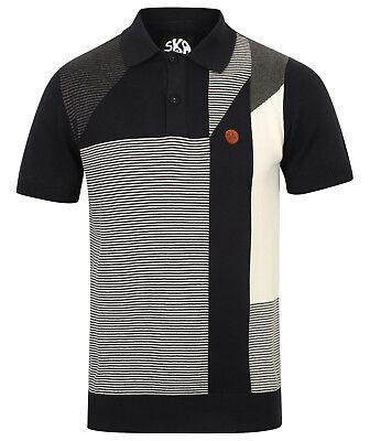 Ska /& Soul Black//White Chequerboard Trim 100/% Cotton Polo Shirt