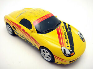 Vintage-Hornby-Slot-Racing-Car-Porsche-Boxter-Yellow-1-32-Tested