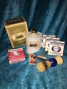Vintage-Travel-Shaving-Kit-Gillette-Tech-Razor-Avon-Mug-Williams-Soap-Brush