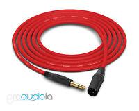 Canare Quad Cable L-4E6S | Neutrik Gold TRS XLR-M | Red 4 Feet | 4 Ft. | 4'