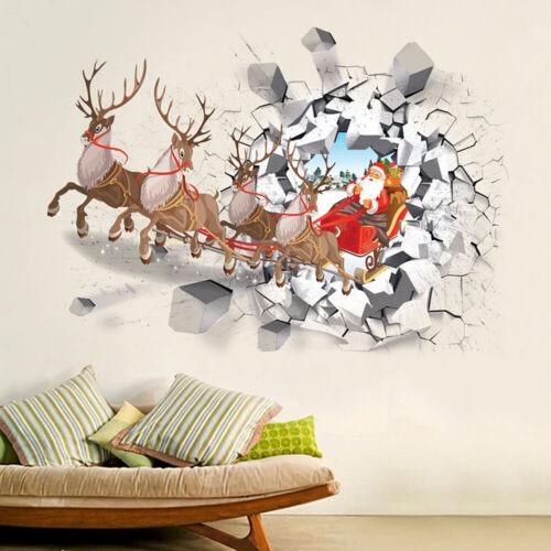 70*50cm Christmas 3D PVC Santa Claus Elk Wall Stickers Window Showcase Decor DIY