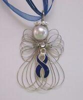 Colon Cancer Awareness Blue Ribbon Angel Necklace Handmade