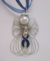 Colon Cancer Awareness Blue Ribbon Angel Necklace Handmade