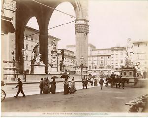 Alinari-Italie-Firenze-Piazza-della-Signoria-Vintage-albumen-print-Tirage