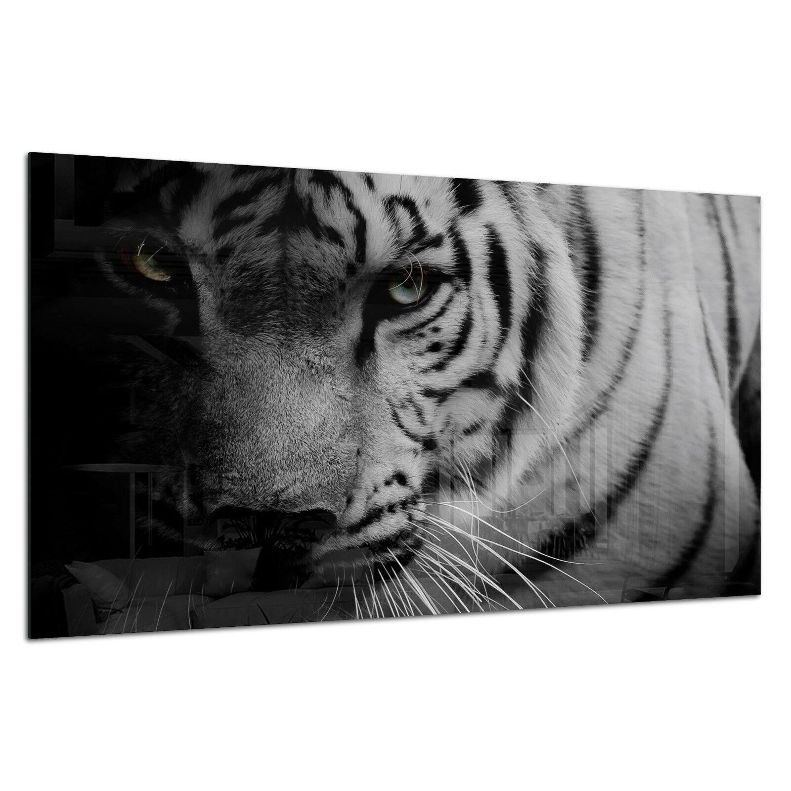 Tempered Glass Photo Print Wall Art Picture B&W Tiger Wild Dark Prizma GWA0343