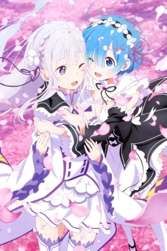 "Ram Rem Emilia Re Zero 36/"" x 24/"" Large Wall Poster Print Decor Anime"