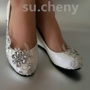 af549b1f6c4 Details about su.cheny Lace white ivory crystal flats low high heel pump  Wedding Bridal shoes