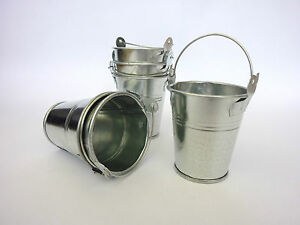 Sets of Small Mini Metal Buckets Party Wedding Favour Crafts Storage H7.5cms