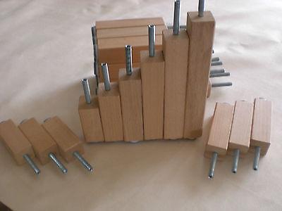 Quadratisch Möbelfüße Holzfüße Komodenfuß Vierkantfüße NATUR BUCHE H-5-20cm.  M8