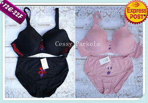 Plus-size T-shirt Bras w//Wire light padded w//Pant Cup E-F Size12-22 Pink Black