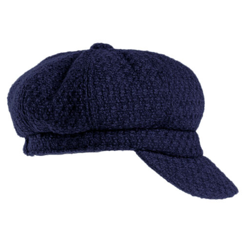 Luxurious Navy Wool Blend Baker Boy Cap hair loss cancer alopecia chemo