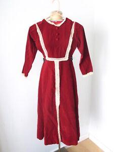 Vtg-70s-red-velvet-ecru-lace-hippie-prairie-maxi-festival-dress-Teen-Junior-XS