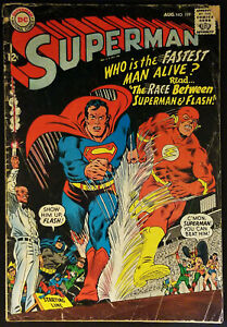 Superman-199-VG-FN-5-0-Race-with-Flash-1967-Silver-Age-Key-Issue