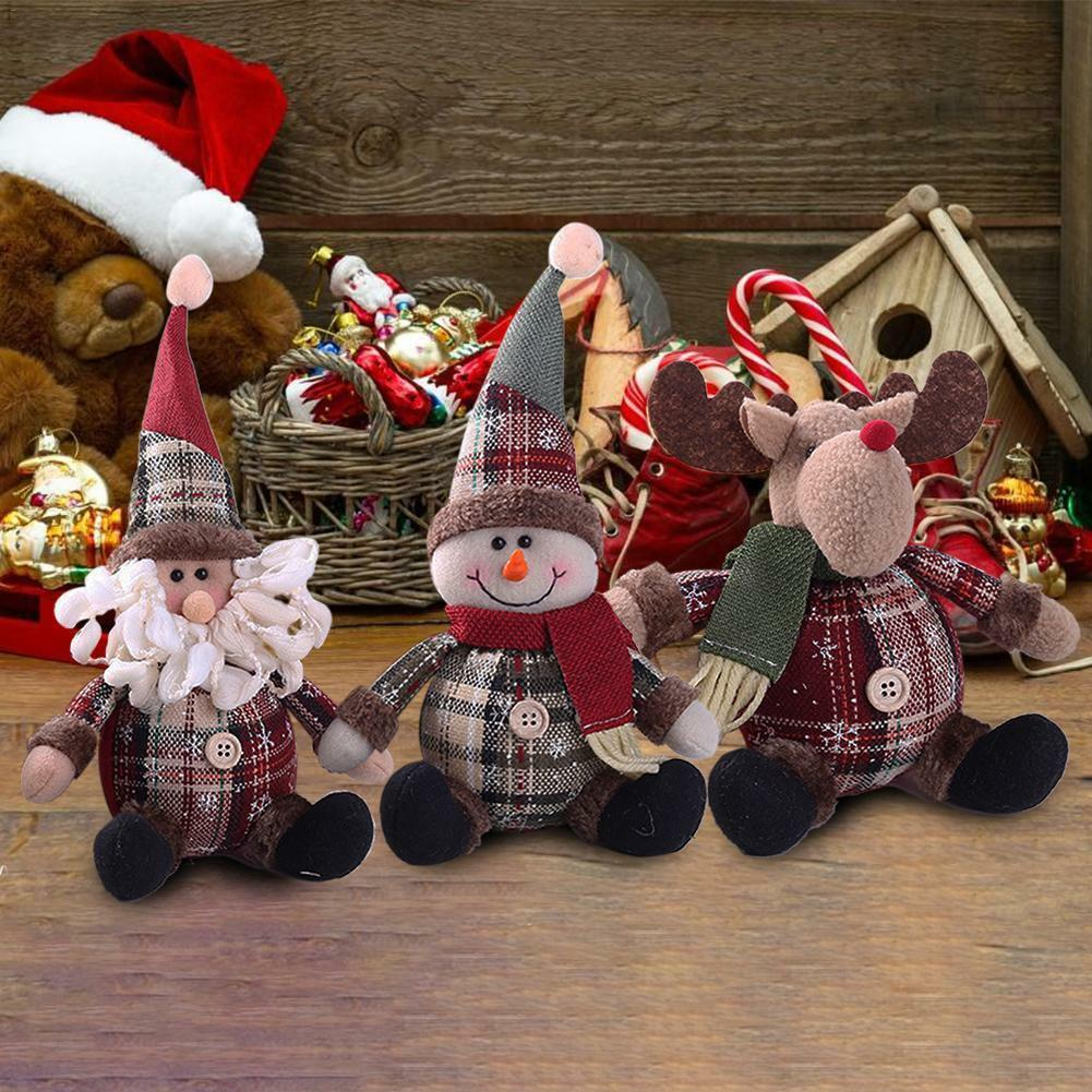 Christmas Decor Doll Cloth Snowman Santa Xmas Reindeer Sitting Ornament Gift new