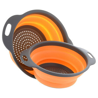 Home Collapsible Silicone Colanders Strainers Fruits Vegetables Basket 2Pcs/Set