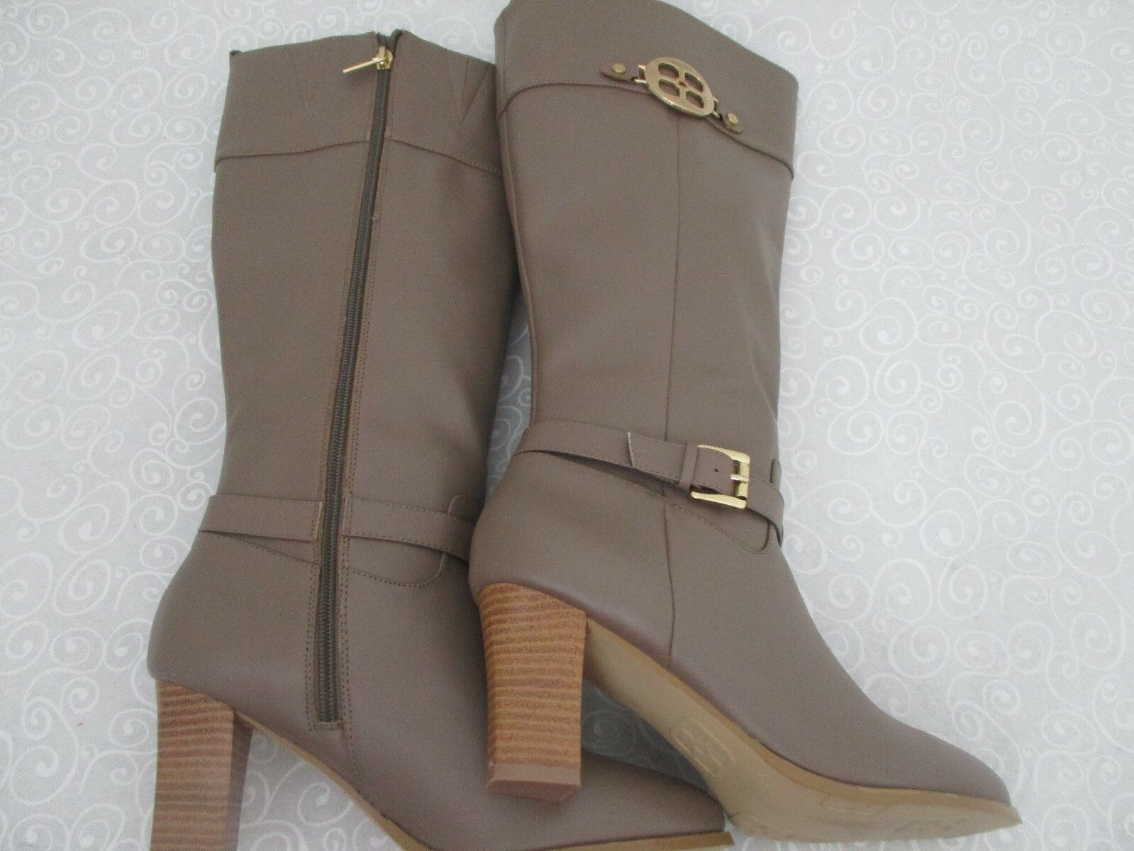 169  IMAN HIGH TAUPE LEATHER KNEE HIGH IMAN Stiefel SIZE 8 1/2 W - NEW 7b10ab
